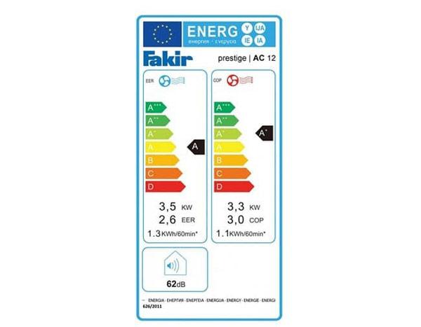 رتبه مصرف انرژی: کولر گازی پرتابل فکر Prestige AC9 نسبت به سایر مدل های هم رده این محصول در سایر کمپانی ها مصرف انرژی بسیار پایین تری دارد. درجه و رتبه مصرف انرژی طبق برچسب انرژی جهانی در این محصول +A می باشد. این کولر گازی دارای توانی 9000 وات دارد اما مصرف آن فقط 3000 وات می باشد. و این یعنی سه برابر مصرف خود انرژی تولید می کند. و این قابلیت برای این محصول می تواند بسیار مهم و مفید باشد.
